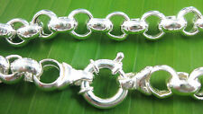 REAL 925 sterling silver BELCHER round BOLT ring clasp 45cm chain necklace
