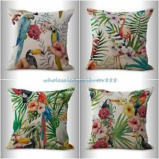 4pcs cushion covers bird toucan flamingo hibiscus flower decorative bed pillows