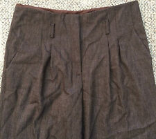Magaschoni Womens Sz 8 Bitter Chocolate Pleated Wide Leg Cuffed Pants YY94046