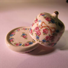 Artisan made doll house miniature ceramic floral patterned stilton jar~ 1/12