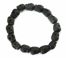 Bracelet Black Tibetan Black Skull Prayer Large Bead Wood Mala Men Man Mens