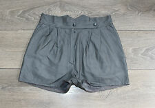 Grey Leather BLUE RINSE High Waist Front Pleats Hot Pants Shorts Size W27 L1