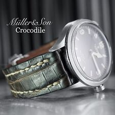 Müller&Son 22mm Brown Genuine Crocodile Leather Watch Strap Deployment Buckle