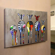 """Abstract """"Multicolored Zebra"""" HD Canvas Prints Wall Art Painting Picture FRAMED"""