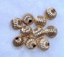 14K Gold Filled 3MM ( Hole: 1.2MM) 20 pcs. Corrugated Round Spacer Beads U.S.A.