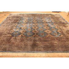 Alter Feiner Handgeknüpfter Orient Teppich Blauer Buchara Jomut Carpet 350x280cm