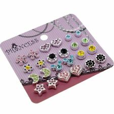 Color Crystal Magnetic Clip On Stud Earrings Fashion Jewelry for Kids Teen Girls