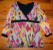 Women's INTERNATIONAL CONCEPTS INC Black Pink Yellow Diamond Print Shirt Large