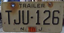 New Jersey VINTAGE Collectible 1977  Rare TRAILER  License Plates TJU 126