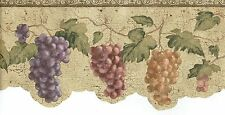 DIE CUT  GRAPES HANGING  VINE CRACKED TAN BACKGROUND Wallpaper bordeR Wall Decor
