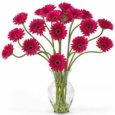 Nearly Natural Gerber Daisy Liquid Illusion Silk Flower Arrangement- Beauty NEW
