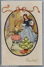 ART DECO Bambina con Bambola Albero Buon Anno PC Circa 1930 ITALY Childrens Doll