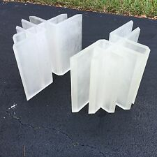 FAB ARCHITECTURAL POST MODERN FROSTED LUCITE TABLE BASES MAKES A COFFEE TABLE P