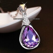 Purple Amethyst Crystal Tear Necklaces Present Mother's Day Gifts For Her Women
