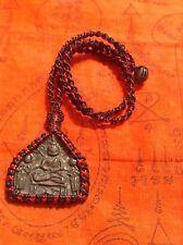 Buddha Amulet Thailand Meditation Yoga Pendant Hand Knit Necklace