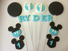 3D EDIBLE MICKEY MOUSE CUP CAKE TOPPERS CAKE DECORATIONS 1ST BIRTHDAY SET