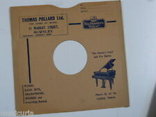 "78 rpm 10"" inch card gramophone record sleeve THOMAS POLLARD , BURNLEY"