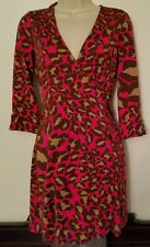 Diane von Furstenberg Vintage DVF Pink & Brown Animal Print Silk Wrap Dress US 6