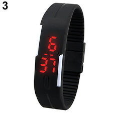 Mens Womens Stunning Silicone Red LED Sport Bracelet Touch Digital Wrist Watch