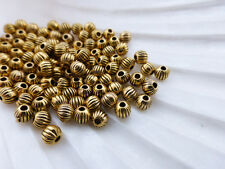 100 x Round Spacer Pumpkin Beads Antique Gold 4mm, Beads Findings  LF  (MBX0081)