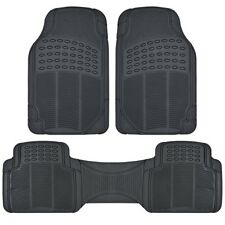 (3pc) Black All Weather Floor Mats Front & Rear Universal New Free Shipping USA