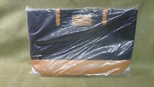 """TANGER OUTLETS """"Tanger Club"""" Black & Saddle Brown Faux Leather Tote Bag"""