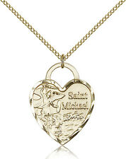"""Saint Michael The Archangel Medal For Women - Gold Filled Necklace On 18"""" Cha..."""