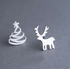 925 Silver Plated Fashion Christmas Trees Elk Asymmetric Women New Stud Earrings