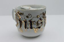 Antique Husband Mustache Cup embossed blue & gold letters Germany