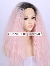 Women's Curly Wig Ombre Pink Long Synthetic Hair Lace Front Wigs Heat Good UK 24