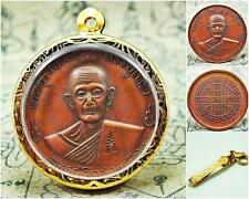 Genuine Amulet Phra Coin LP.Toh Back Yantra 2512 BE Powerful Buddha Sacred Old
