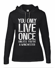 "Women's hooded ""YOLO"" winchester brothers demon catchers supernatural T Shirt"
