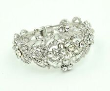 Vintage Style Luxury Silver White Rhinestones Bracelet Bangle Bridal BB141