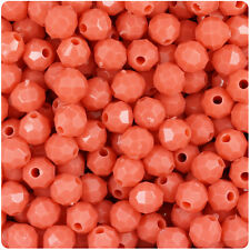 450 Coral Orange Opaque 8mm Faceted Round Plastic Craft Beads Made in the USA