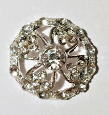 2 Silver Grade A Rhinestone Crystal Buttons 21mm High Quality M0538