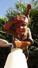 Antique Black Forest Brienz Hand Carved Wood German gnome Ceiling Lamp cabin