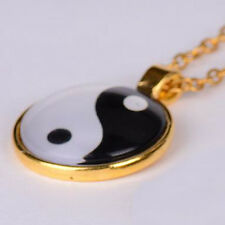 """Yin and Yang Pendant Jewelry Chain Necklace - Gold Bronze Silver - 1"""" Dia - New"""