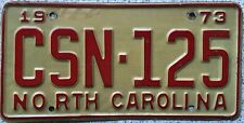 FREE UK POSTAGE American 1973 North Carolina  USA License Number Plate CSN 125