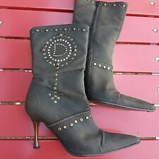 Stunning FAITH EL DANTES Brown Studded Stiletto Boots, Size UK 4.5/EU 37