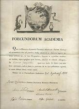 Attestato Diploma Accademia dei Fecondi Eruditi Illustrazione Acquaforte 1837