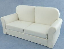 Dolls House White Leather Sofa Miniature 1/12 Scale Living Room Furniture
