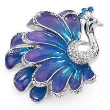 X883 Clear Austrain Crystal Blue Paint 18K WGP Alloy Phoenix Brooch Pin