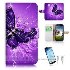Samsung Galaxy S4 Flip Wallet Case Cover! S8184 Purple Butterfly
