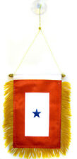 "One Blue Star Service Mini Flag 4""x6"" Banner w/ suction cup"