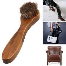 Long Brown Wood Handle Horse Bristle Hair Brush Shoes Boot Buffing Brush Care