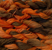 Pure wool  yarn, fingering weight,  hand dyed brown and orange,  9oz.