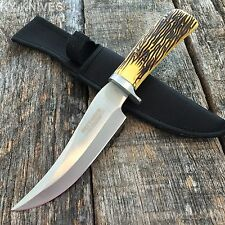"10.5"" Stag Skinner Hunting Knife Full Tang Razor Sharp With Sheath 7592"