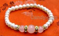 """SALE Beautiful! 6-7mm white Natural Pearl and pink Round jade 7.5"""" bracelet-b290"""