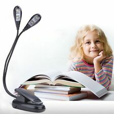 Mini Black LED Reading Light USB Rechargeable Clip-on Clamp Bed Table Desk Lamp