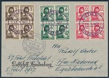 GERMANY, HINDENBURG 3/11/1937 UDET FLIGHT COVER W/ #481-483 BLKS/4 VF BT971